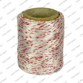 Cordino nylon bianco/rosso 1,8 mm - 25 mt su tubetto