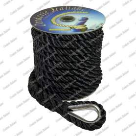 Ormeggio di poppa nero con redancia inox 14 mm - 15 mt