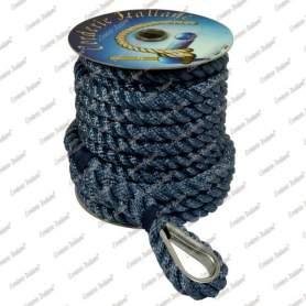 Ormeggio di poppa blu con redancia inox 14 mm - 15 mt