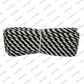 Treccia luxury bianco - nera, 6 mm - 10 mt