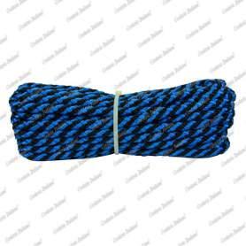 Treccia luxury nero - azzurra, 8 mm - 10 mt