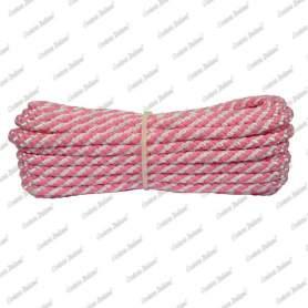 Treccia luxury rosa flu - bianco, 4 mm - 10 mt