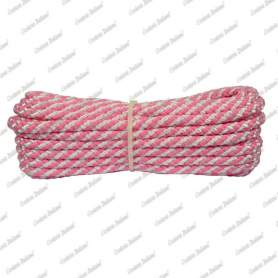 Treccia luxury rosa flu - bianca, 6 mm - 10 mt