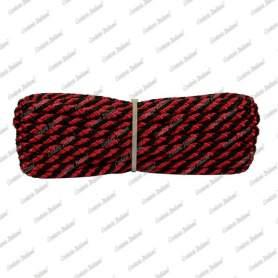 Treccia luxury rosso - nera, 6 mm - 10 mt