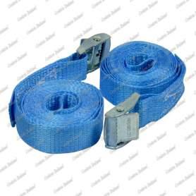 Cinghie di ancoraggio per piccoli carichi con fibbia autobloccante, 25 mm - 2,5 mt, 2 pz