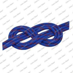 Doppia treccia scotta poliestere fiocco alta tenacità, blu con spia rossa, 6 mm - al metro
